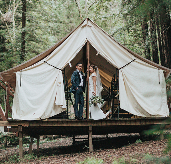 Wedding couple in tent
