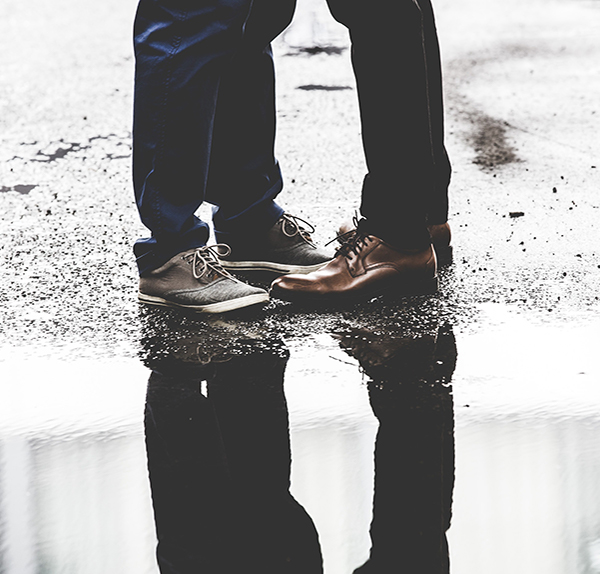 Couple feet in the rain